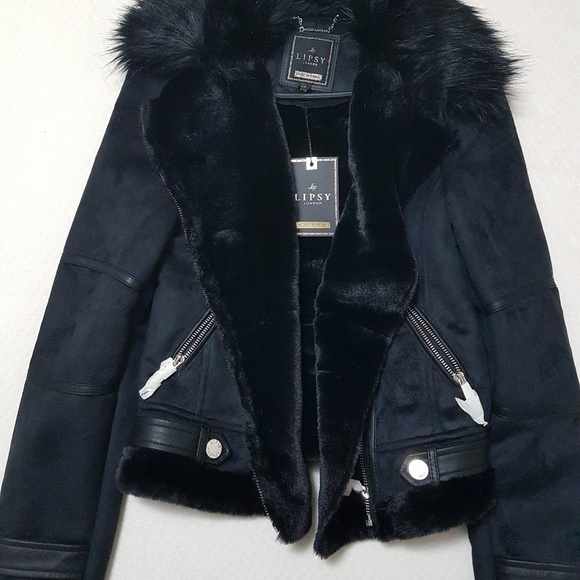 best quality special sales new collection Black Lipsy London Bonded Biker Jacket NWT